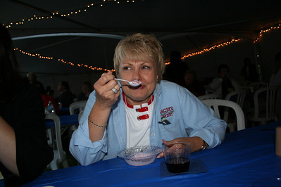 Cold temperatures didn't scare Sally Smits, VP of finance for SHST, from having some Kopps frozen custard!