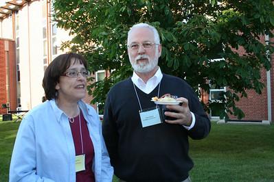 Jo Calcagnino, a member of the local organizing committee, and SHST seminarian Paul Brunet.