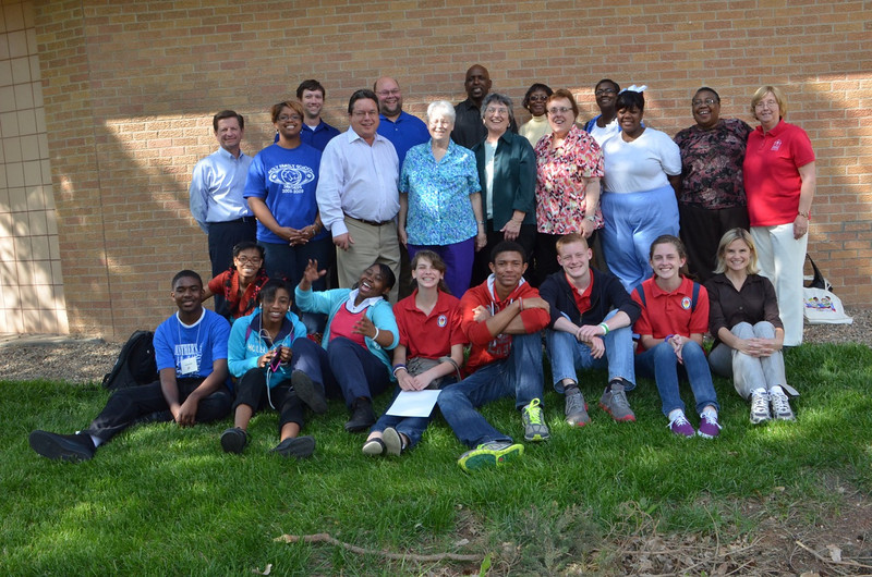 Students and staff from Sacred Heart Southern Missions, including Fr. Jack Kurps, SCJ, executive director (standing, fourth from the left).