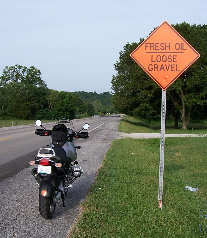 My favorite Missouri road sign.  One that all motorcyclists just looooove to see.  It was taken on Hwy 8 just east of Steelville.