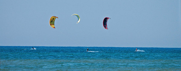 Kiteboarders at Little Point Sable