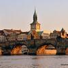 The Charles Bridge on the Vltava River, Prague, Czech Republic in February 2014
