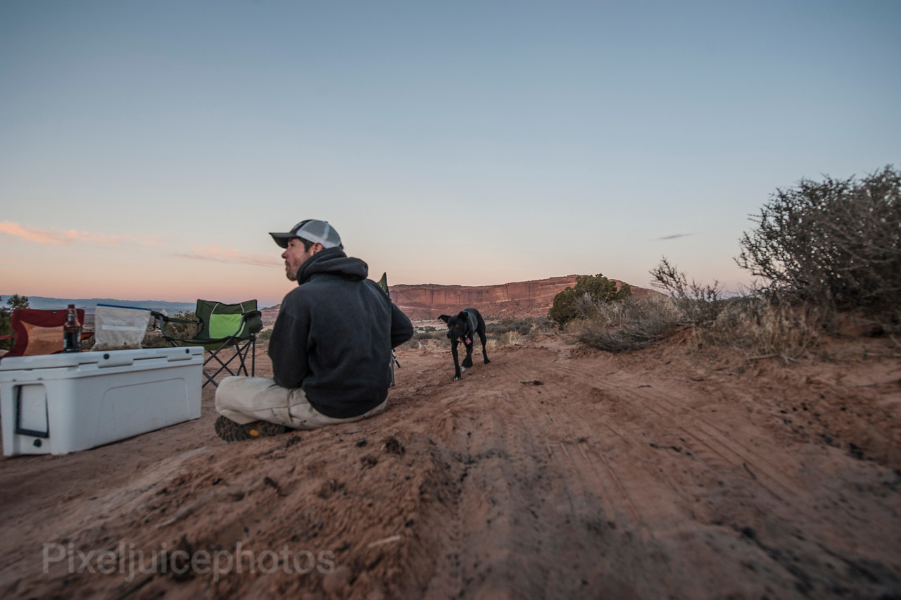 Chris, owner of Moab Moto Tours and his rescue, Sally
