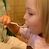 Eve eating ice cream with chocolate
