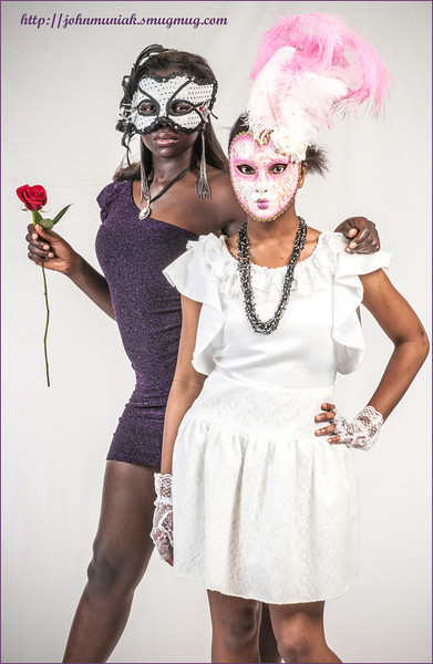 """Dominique and Grace"" at the Masked Ball photoshoot."