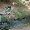 Alana jumps the creek, no problem. Super girl!