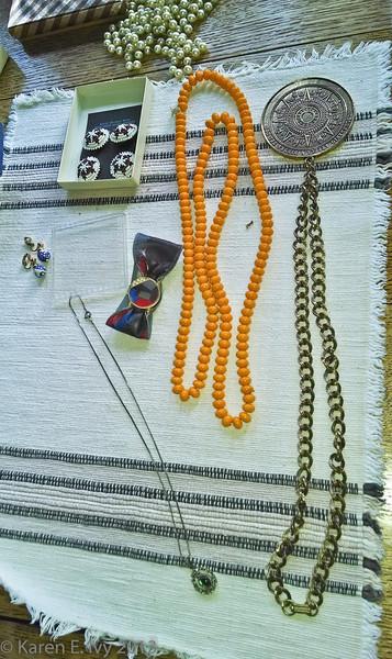 Aztec calendar pendant, orange beads, ceramic earrings, digital watch, small pendant, beaded buttons (as new)