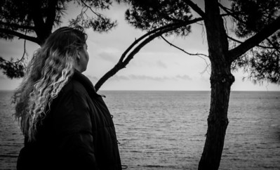 Woman looking at sea, Monte Carlo, French Riviera, Côte d'azur
