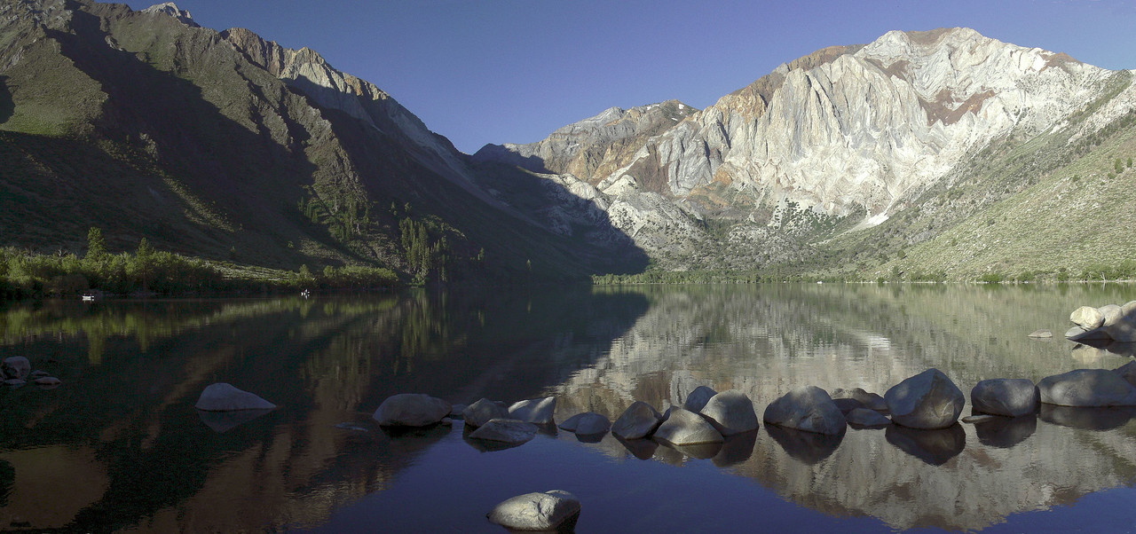 Convict Lake, one of the premier fishing lakes in the eastern Sierra Nevada, located just south of Mammoth Lakes. This was taken at 7:30AM and is 2 photos run through the Panorama Factory software.