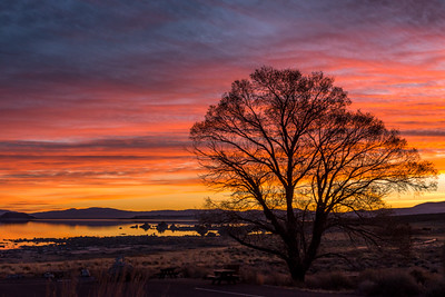 Sunrise on fire over Mono Lake