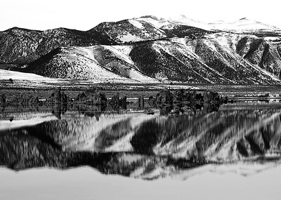 Winter Reflection in Black and White, Mono Lake, CA