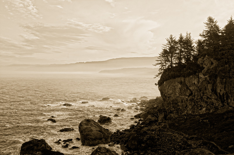 Early morning at Patricks Point, Humboldt, California, October 2010. [Patricks Point 2010-10 HDR 05-TM-TC CA-USA_&2 Sepia]