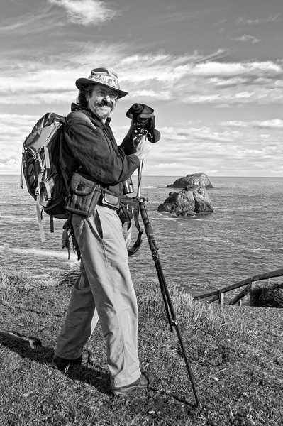 Gary Bloomfield birdwatching at Elk Head, near Trinidad, California, June 2012.