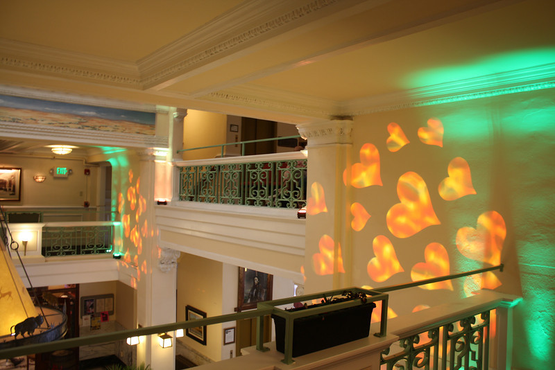 Monogram and uplighting  at the Plains Hotel in Cheyenne, Wyoming. The Hearts would move in a slow circle.