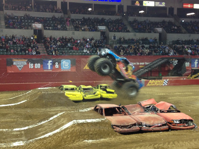 Last night we got last minute free tickets to a Monster Truck Rally in Trenton.