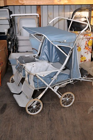1964 Steelcraft twin stroller in storage