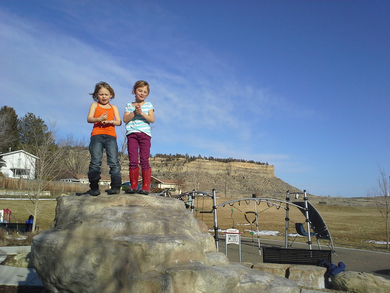 """Zoe and friend sing """"Let it Go"""" for about half an hour atop a man made boulder at a local park. Warm and windy winter day."""