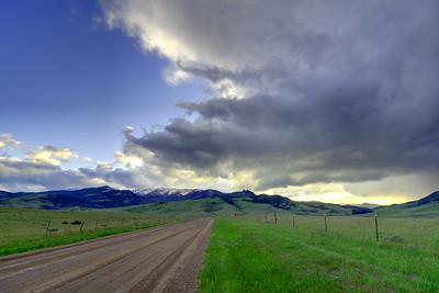 HDR image from Trail Creek looking towards Chimney Rock and a massive Thunderstorm that just passed through Bozeman on June 12th dropping hail up to a quarter in size. Photography by Jim R Harris Bozeman Photographer