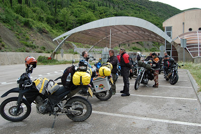 Joined by serveral groups of Harley riders on the way to a 'Hog Meet' in Greece.