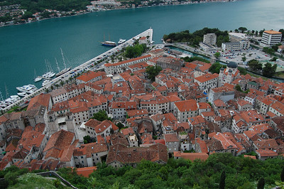 The small old town of Kotor from half way up the walls.