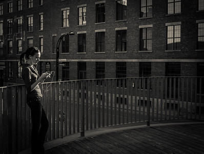 Montreal, Black and white, Girl, iPod, Music, Building