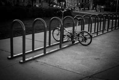 Montreal, Black and white, Bicycle, Rack, Montreal Old Port