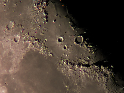 Alpine Valley, Archimedes and the lunar mountain range Montes Apenninus including the landing place of Apollo 15 at Rima Hadley are all within this image by Al Paslow on April 22, 2010. The image was reworked by Bill Snyder of Connellsville, PA to enhance various features. 10 inch refractor Nikon 990 camera.