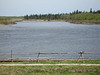 View down the channel from Moosonee from the lawn of the Cree Village Ecolodge in Moose Factory.