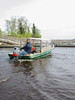 Taxi boat at docks in Moose Factory.