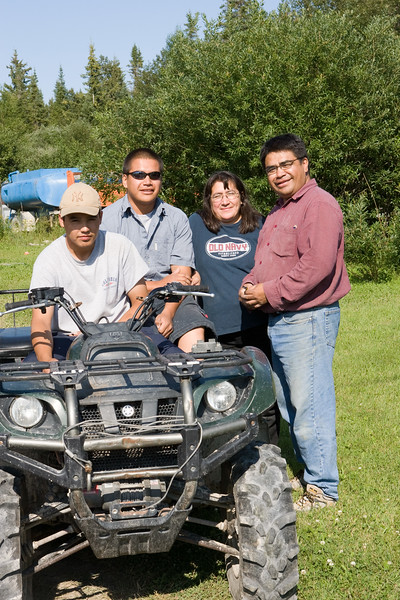 Carlo, Corey, Anna and Marcel Metatawabin in Moose Factory. 2006 August 5th.