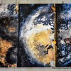 A dynamic triptych abstract painting on a wall at Seenspace shopping centre in Hua Hin, Thailand in August 2017