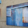 A painting of a corrugated iron shack at Seenspace shopping centre in Hua Hin, Thailand in August 2017