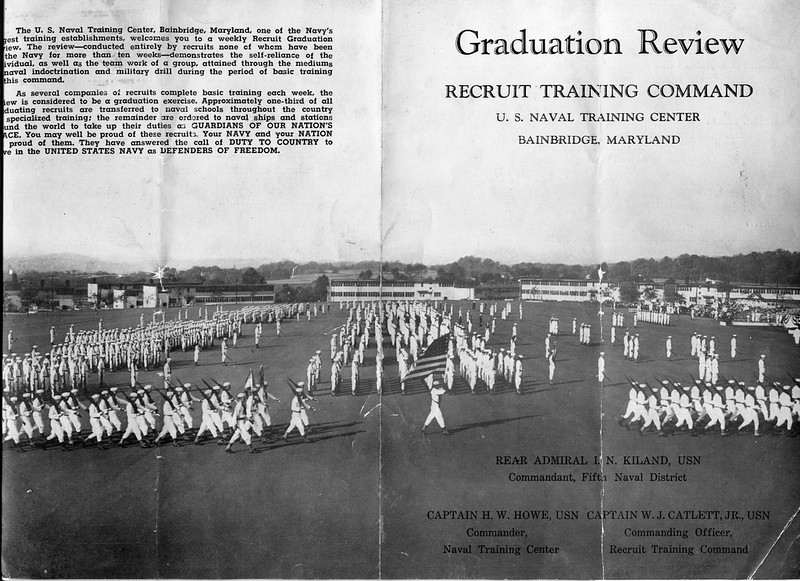 Granduation Programn for Company 101, 41st Battalion, 4th Regiment - USNTC BAINBRDIGE - May 12 to July 30. 1954.<br /> <br /> Also Companies 98, 99, 102, 103, 104 was part of 158th Graduation Review, July 24, 1954 at Camp Rodgers Parade Field.