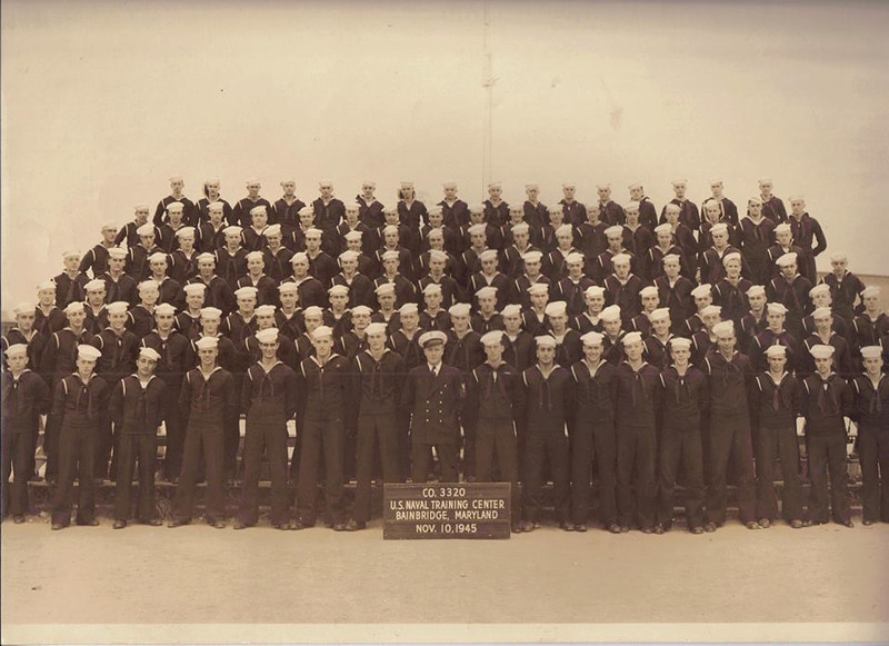 USNTC BAINBRIDGE Boot Company 3320, November 10, 1945.  Photo courtesy of Todd Welsh who found this photo at an estate sale.  Thanks Todd!