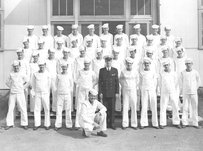 USNTC BAINBRIDGE Radioman School Class - August 31, 1946 - Instructor RMC Flanigan. (See Reverse Side for Class Roster).