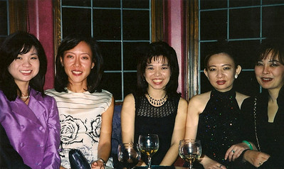 12/12/98 Left to right: James's wife, Alissa, Wynne, Vivian, and Arleen Morgan Stanley office Christmas party in the Hollywood Hills.
