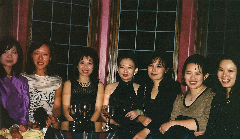 12/12/98 Left to right: James's wife, Alissa, Wynne, Vivian, Arleen, Marina and Ellen. Morgan Stanley office Christmas party in the Hollywood Hills.