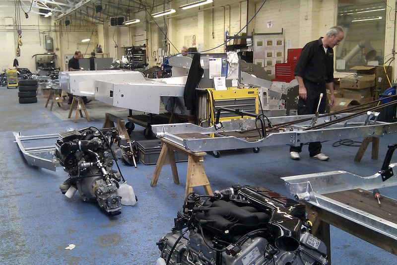 In this part of the plant the basic chassis is built up to a rolling chassis complete with engine, gearbox and wheels.