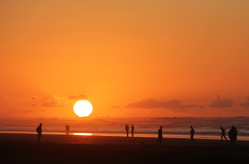 sunset at the beach in casablanca