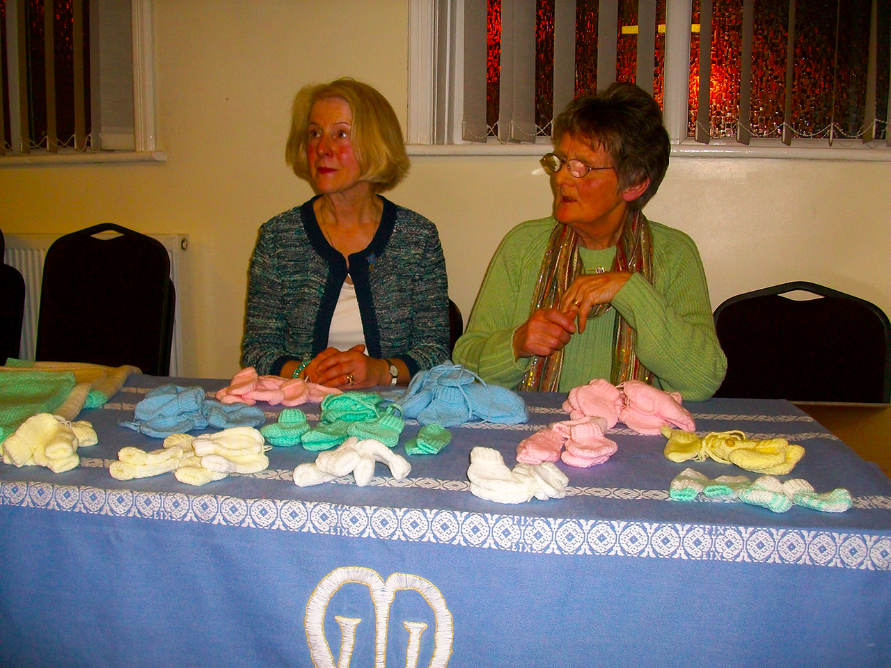 Mothers' Union members Linda Barron & Jean Rothwell knitters for the premature babies at Bolton Hospital