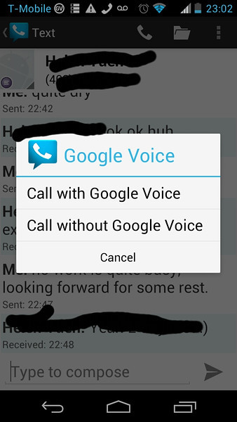 Google Voice 0.4.3.8 - click the phone button, the choice will pop up. If you use your phone's native dialer, this will pop up when you hit send button.