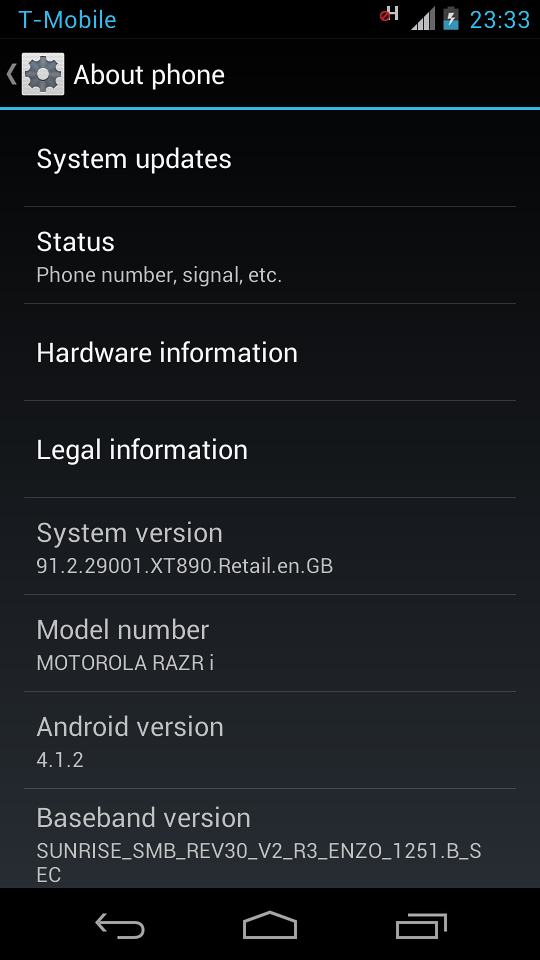 just got an upgrade jellybean 4.1.2