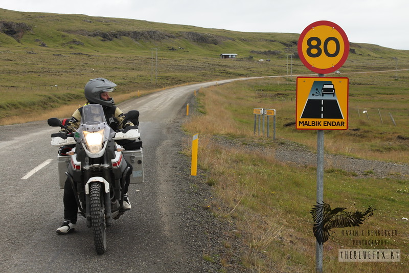 """Summer 2010. Let the fun begin! """"Malbik endar"""" means """"end of paved roads ahead"""". Western Fjords of Iceland."""