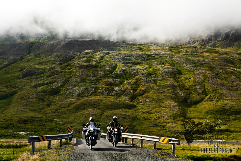 In the Eastern Fjords of Iceland, summer 2010. Me on the Ténéré to the left, Bernhard on his BMW R 80 G/S to the right.