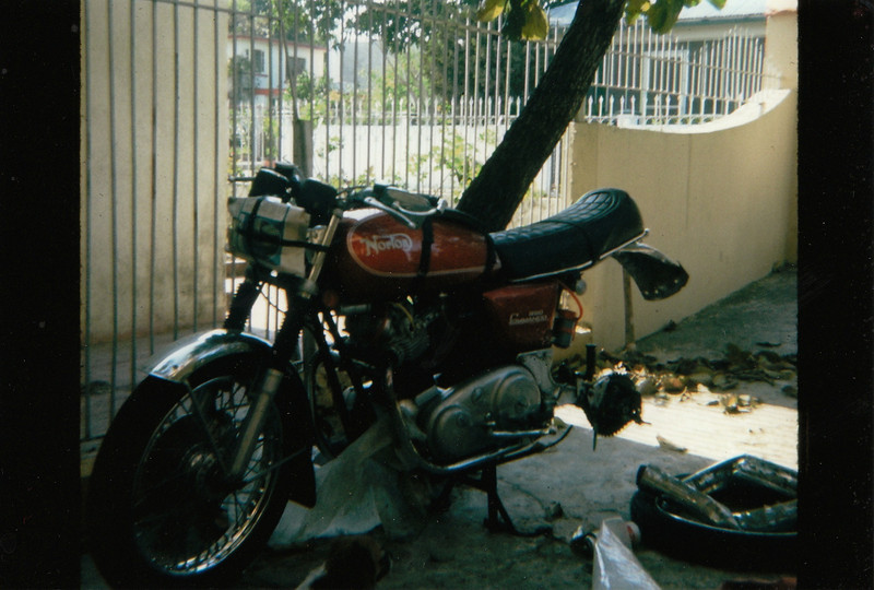 The downside of motorcycle adventuring. Tampico, MX, about 1976 in the back yard of a friend.