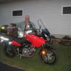 Setting off on a ride around Lake Superior on my new 2006 650cc V Strom. The weather was so hot I left St. Paul at dusk and rode most of the night. A week after completing the 5 day ride I did it again in the other direction.<br />   By this time I've lost count of how many motorcycle adventures I've taken.