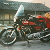 1975 Norton Interstate.<br />   Stopping in Nebraska on my way to Mexico, February of 1976. Note snow in the background. This was my second motorcycle adventure.