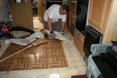 The Flooring Project Is Underway After Fully Stripping Out All Existing Layers Of To