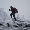 turned the corner and got BLASTED by wind and cold and more sketchy ice-what I didn't plan on was getting down.......