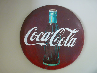 Large Coke button sign